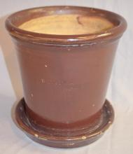 Brown Glazed White's Pottery Works Flower Pot with Drain: 7