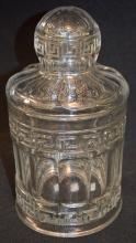 Old Heisey Crushed Fruit Jar and Lid in Greek Key Pattern: It is marked with the company trademark and