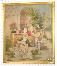 Antique Framed Needle Point Picture Depicting a Young Lady with Knitting Supplies and a Cat: She is talking to a young musician with a mandolin. An elderly man seated on a bench cleans a suit of armor and has a dog by him.