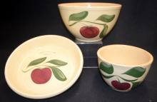 3 Watt Ware Pottery Apple Pattern Dishes: 1.) #33 Pie Plate, imprinted