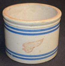 Red Wing 4 Blue Band Butter Crock: Marked with a small red wing and it has 4 blue bands. 4 3/8