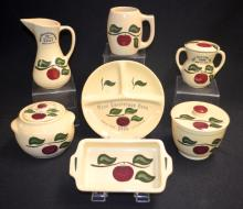 7 Watt Ware Pottery Collector's Dishes, Apple Pattern, 1998, 1999, 2002, 2003, 2005, 2006 & 2007. There are no condition problems. Largest - 7 3/8