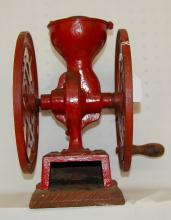 Antique Simmons Hdwe Co. Koffee Krusher Table Top Grinder: Mounted on a board. 12 1/2
