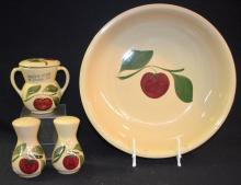 4 Watt Ware Pottery Apple Items, Spaghetti Bowl, Salt & Pepper Shakers & Covered Sugar. Largest - 13 1/4