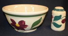 2 Watt Pottery Items, #8 Cherry Bowl and Salt Shaker: 1.) #8 Cherry Bowl is imprinted
