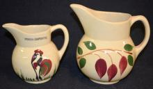 2 Watt Pottery Cream Pitchers, #62 Rooster and #15 America Red Bud (Teardrop): 1.) #62, the rooster is imprinted