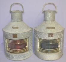 2 Galvanized Steel Large Ships Lanterns, 1 is Marked