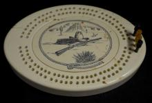 Simulated Ivory Western Cribbage Board with 4 Pegs and Instructions: The instructions read