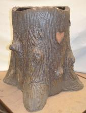 Folk Art Sewer Pottery Tile Tree Trunk Yard Urn: Unsigned, hand made to look like a tree trunk with bark, knots and root. Made with red pottery tile. There is a heart decoration and a 5-pointed star. The bottom is open, as made.