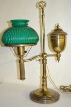 Electrified Brass Student Lamp with Green Shade, Unsigned: It has a brass base and has been electrified thru the ball in the stem. The green glass shade is ribbed. 22
