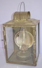 Antique Tubular Lantern for Barn or Railroad: The lantern box is tin with 3 glass sides with a tin lamp, chimney and mercury reflector. The box is marked