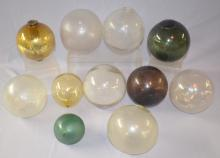 9 Fish Float Balls, 6 Clear, 2 Green, 1 Amber Plus an Amber Glass Ball and Lightening Rod Ball: 3 are clear and embossed