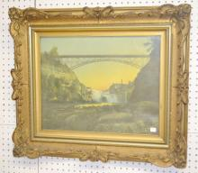 Ornate Framed Print of a Railroad Bridge Going Over a Waterfall: No. 515 Lower Genesee Falls Near Rochester NY (LVRR). The frame is 25