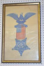 Framed Grand Army of the Republic 1861 Veteran 1866 Cloth Memento: Depicting the Eagle, Crossed Cannons, 9 Cannon Balls, 10 White Stars, 13 Stripes, 5- point star and reads