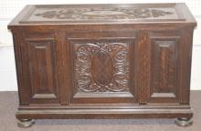 Antique Ornate Carved Fumed Oak Lift Top Blanket Chest
