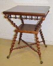 Antique Mahogany Square Parlor Table With Shelf, Stretcher and Claw & Ball Feet: It has carved, twisted legs,  a crisscross stretcher and a stick and ball skirt. 31