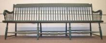 Antique Wooden Green Painted Arrow Back Country Depot Bench: 36
