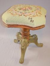Antique Upholstered Swiveling Organ Stool w/Needlepoint Seat,  Lady Head and Lion Head Legs: The bottom is marked