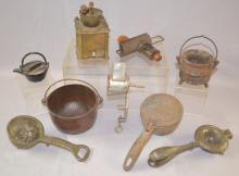 9 Small Primitive Kitchen Tools and Pots