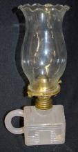 Antique Atterbury Miniature Log Cabin Lamp with Lock-On Chimney: It appears to be all original with a slightly opaque appearance to the glass. The burner is marked