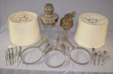 Large Assortment of Miscellaneous Aladdin Lamp Parts and Pieces: Includes fonts, flame spreaders, shades, wall plates and ceiling fixtures. All sell as is, where is.