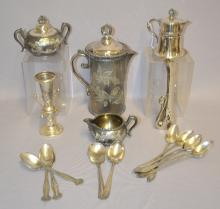 17 Assorted Pieces of Silver and Silver Plate Collectibles: Includes vases, coffee equipment, spoons and a small syrup. Tallest - 9 1/2