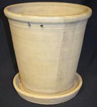 Large Hand Thrown Flower Pot with Attached Underplate: Unmarked. 9 1/4