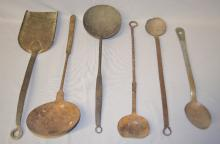 6 Early Primitive Fireplace and Cooking Utensils: 1.) Hand forged wrought iron fireplace shovel.; 2.) Hand forged iron ladle.; 3.) 2 Hand forged stirring spoons,; 4.) Hand forged steel mixing spoon. Longest - 18