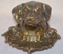 Antique Bronze Dog Head Inkwell with China Inkwell: Unmarked, except for an