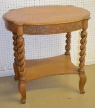Antique Pressed Carved Oval Oak Table: It has an oval turtle top with carved legs, pressed scrolling leaf 3