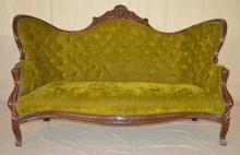 Victorian Style Wing Back Tufted Sette, Walnut Frame, green material.