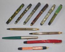 11 Assorted Parker Pens: There are some with nibs and some without. Some are complete and others are not. Longest - 5 3/8