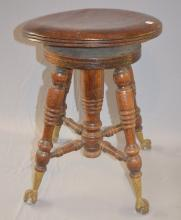 Antique Oak Spinning Organ Stool with Claw and Ball Feet: 19