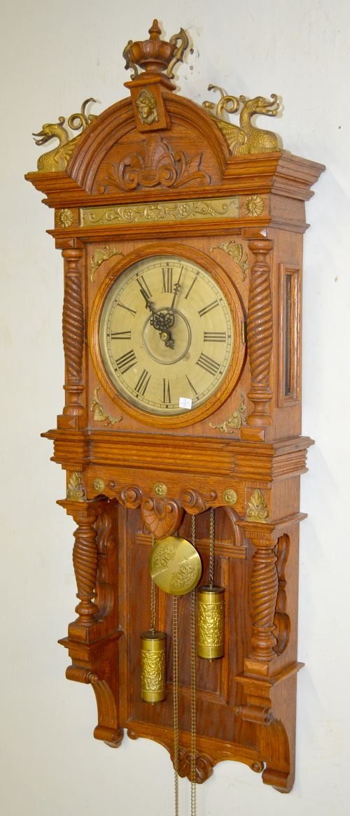 Antique Waterbury Augusta Oak Wall Clock T S With A Silve