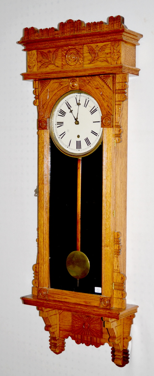Antique Gilbert Quot Salisbury Quot Oak Wall Clock T O With A Sign
