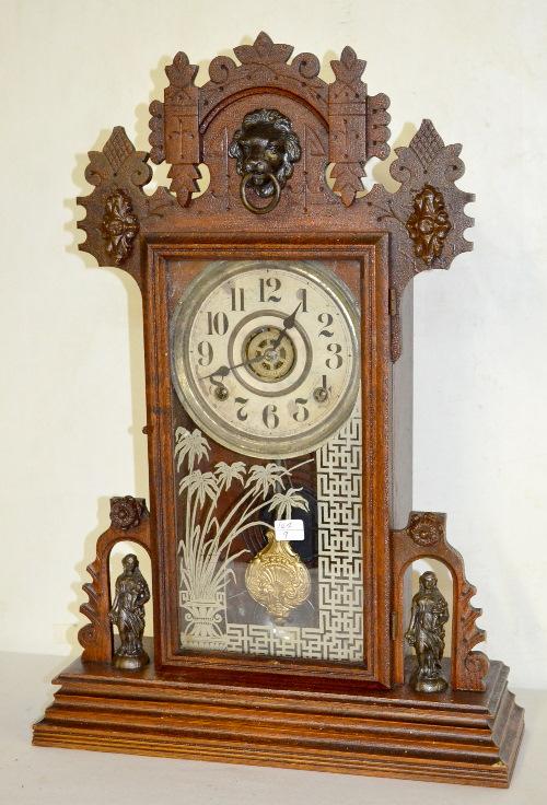 Antique oak ingraham shekel kitchen clock t s has pendul - Antique clock designs for your home ...