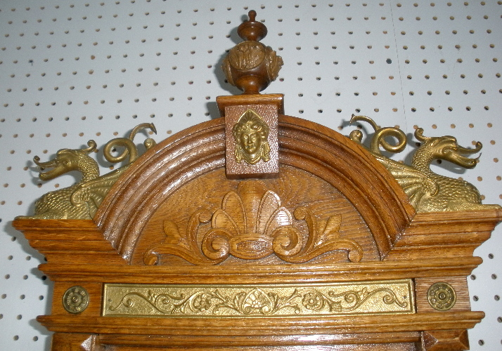 Antique Waterbury Oak Augusta Wall Regulator Clock Nickle D
