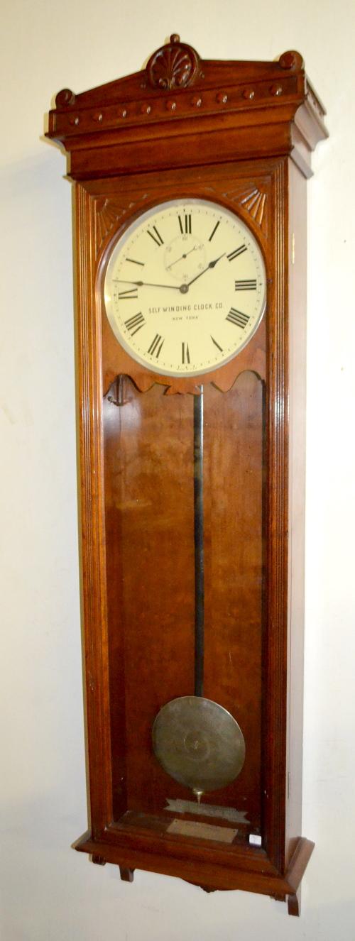 Antique self winding narrow case regulator 9 wall clock - Antique clock designs for your home ...