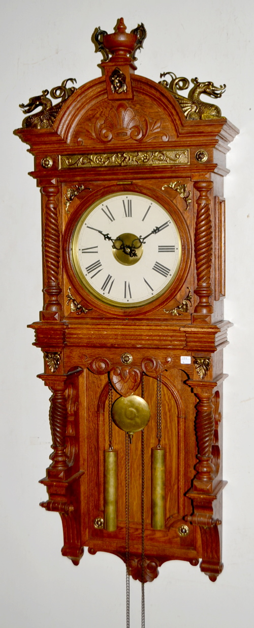 Antique Waterbury Oak Augusta Weight Driven Clock With A Pa