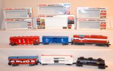 6 Piece Lionel Train Set: Minneapolis & St. Louis Engine #8866; Erie Lackawanna EL9726; M - St. L #9213; SuNo.co S.U.N.X. 9138 Tanker; Lionel Lines Circus Car #9408. All with their Original Boxes. Sells as is, where is.