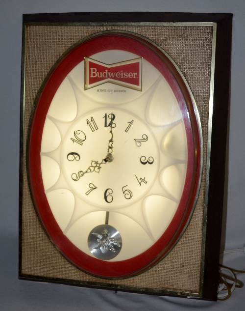 Budweiser Electric Wall Clock Plastic Lights Up And Is In