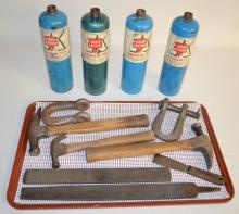 Assorted Keen Kutter Tools: Includes hammers, rasp, file, scraper, couplings and metal propane fuel bottles. Largest - 12 3/4