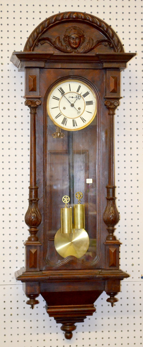Antique carved vienna regulator wall clock with seconds bit