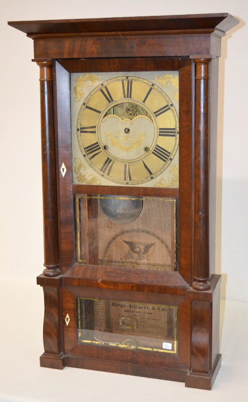 Antique birge gilbert co triple decker clock ts with a for American home furniture gilbert hours