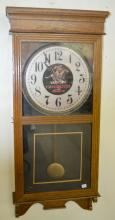 Antique Store Regulator Oak Wall Clock with Winchester Advertising: