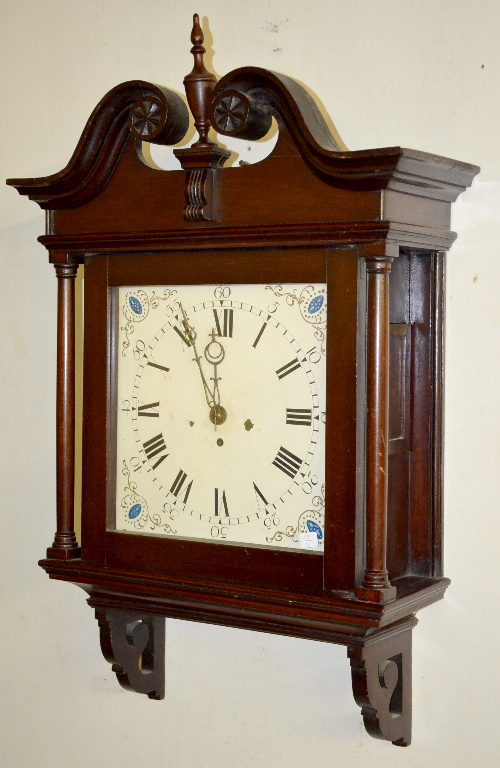 Antique english to fusee mahogany wall clock with a painted - Antique clock designs for your home ...