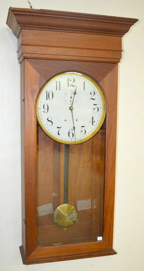 Antique united clock co chicago il mahogany wall regulator - Antique clock designs for your home ...