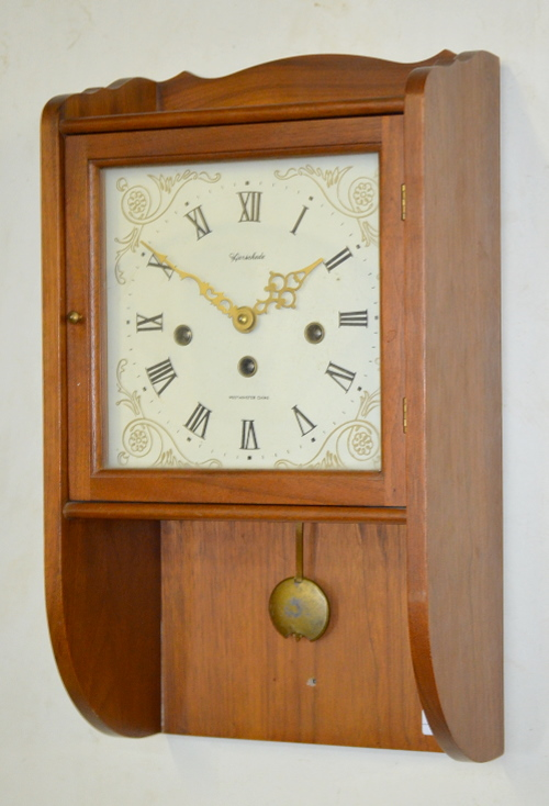 herschedes westminster chime wall clock small size with a. Black Bedroom Furniture Sets. Home Design Ideas