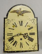 Antique English Fusee Movement and Dial: The cast iron dial is decorated with bird decoupage and numerals in the corners. There is an unmarked nickel movement. Sells as is, where is. 14