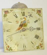 Antique Grandfather T & S Movement with Painted Dial: The painted bird and floral decorated dial is marked